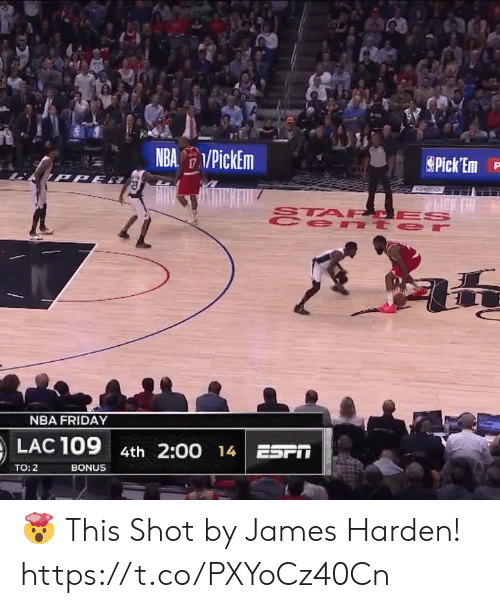 James Harden: NBA PickEm  Pick Em  TPPE  STA PCES  e nt er  47  NBA FRIDAY  LAC 109  4th 2:00 14 ESPT  BONUS  TO: 2 🤯 This Shot by James Harden!   https://t.co/PXYoCz40Cn