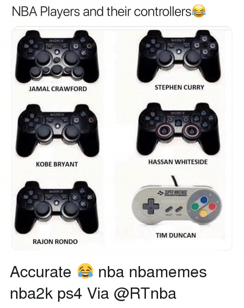 Basketball, Kobe Bryant, and Nba: NBA Players and their controllers  JAMAL CRAWFORD  STEPHEN CURRY  HASSAN WHITESIDE  KOBE BRYANT  TIM DUNCAN  RAJON RONDO Accurate 😂 nba nbamemes nba2k ps4 Via @RTnba