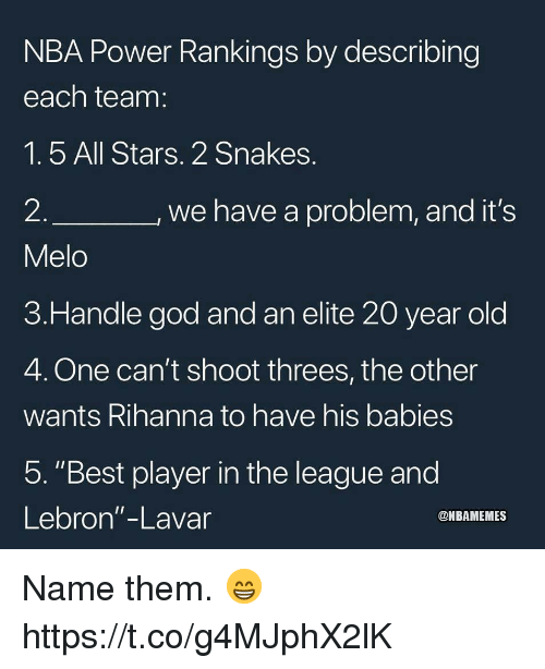 """God, Nba, and Rihanna: NBA Power Rankings by describing  each team  1.5 All Stars. 2 Snakes  2  Melo  3.Handle god and an elite 20 year old  4. One can't shoot threes, the other  wants Rihanna to have his babies  5. """"Best player in the league and  Lebron""""-Lavar  we have a problem, and it's  @NBAMEMES Name them. 😁 https://t.co/g4MJphX2lK"""