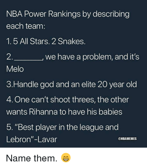 """God, Nba, and Rihanna: NBA Power Rankings by describing  each team:  1.5 All Stars. 2 Snakes.  2  Melo  3.Handle god and an elite 20 year old  4. One can't shoot threes, the other  wants Rihanna to have his babies  5. """"Best player in the league and  Lebron""""-Lavar  we have a problem, and it's  @NBAMEMES Name them. 😁"""