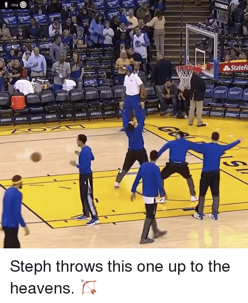 Basketball, Golden State Warriors, and Sports: nba  RITA  State Steph throws this one up to the heavens. 🏹