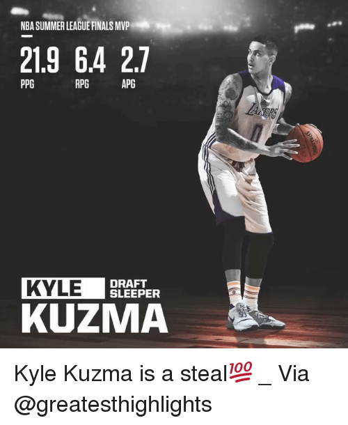 Finals, Memes, and Nba: NBA SUMMER LEAGUE FINALS MVP  21.9 64 27  PPG  RPG  APG  KYLE  DRAFT  SLEEPER  KUZMA Kyle Kuzma is a steal💯 _ Via @greatesthighlights