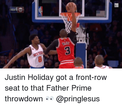 Nba, Sports, and Front Row: NBA TNT Justin Holiday got a front-row seat to that Father Prime throwdown 👀 @pringlesus