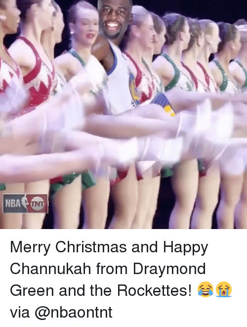 Draymond Green, Nba, and Tnt: NBA TNT Merry Christmas and Happy Channukah from Draymond Green and the Rockettes! 😂😭 via @nbaontnt