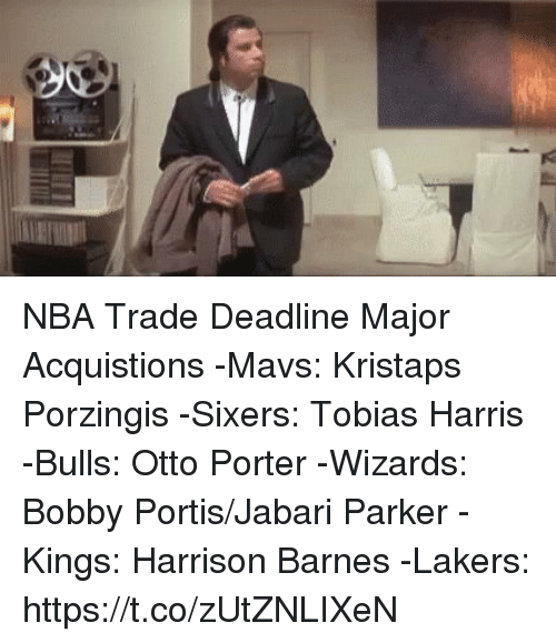 Sixers: NBA Trade Deadline Major Acquistions  -Mavs: Kristaps Porzingis  -Sixers: Tobias Harris -Bulls: Otto Porter -Wizards: Bobby Portis/Jabari Parker -Kings: Harrison Barnes -Lakers: https://t.co/zUtZNLIXeN