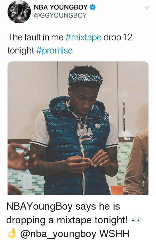 Memes, Nba, and Wshh: NBA YOUNGBOY  GGYOUNGBOY  The fault in me #mixtape drop 12  tonight #promise  20K NBAYoungBoy says he is dropping a mixtape tonight! 👀👌 @nba_youngboy WSHH