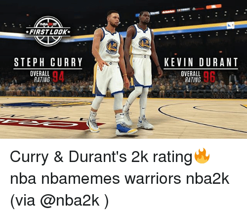Basketball, Kevin Durant, and Nba: NBA2TB  FIRST LOOK-  STEPH CURRY  KEVIN DURANT  OVERALL  RATING  94  OVERALL  RATING  96 Curry & Durant's 2k rating🔥 nba nbamemes warriors nba2k (via @nba2k )