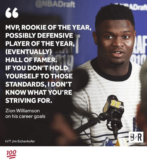 H T: @NBADraft  ADra  MVP, ROOKIE OF THE YEAR,  POSSIBLY DEFENSIVE  PLAYER OF THE YEAR,  (EVENTUALLY)  HALL OF FAMER.  010  IF YOU DON'T HOLD  YOURSELF TO THOSE  STANDARDS, I DON'T  KNOW WHAT YOU'RE  STRIVING FOR.  Zion Williamson  on his career goals  BR  H/T Jim Eichenhofer 💯