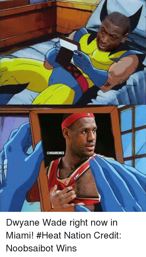 Dwyane Wade, Miami Heat, and Nba: @NBAMEMES Dwyane Wade right now in Miami! #Heat Nation Credit: Noobsaibot Wins