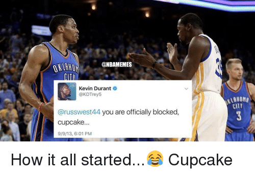 Kevin Durant, Memes, and 🤖: @NBAMEMES  Kevin Durant  @KDTrey5  @russwest44 you are officially blocked  cupcake.  9/9/13, 6:01 PM  CITT How it all started...😂 Cupcake
