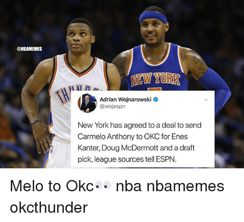 Basketball, Carmelo Anthony, and Doug: @NBAMEMES  NEW YORK  Adrian Wojnarowski  @wojespn  New York has agreed to a deal to send  Carmelo Anthony to OKC for Enes  Kanter, Doug McDermott and a draft  pick, league sources tell ESPN. Melo to Okc👀 nba nbamemes okcthunder