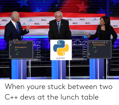 democrats: NBC  e  DEMORATS  ws  NWS  DEMOCRATS  NSC  DEN  DEMOCRATE  NBC  if (Condition)  if (Condition)  Statements  Statements  /  python When youre stuck between two C++ devs at the lunch table