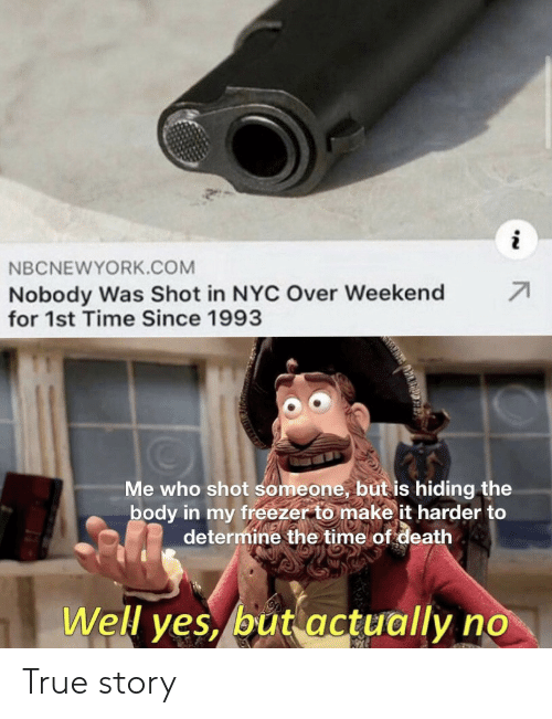 nyc: NBCNEWYORK.COM  71  Nobody Was Shot in NYC Over Weekend  for 1st Time Since 1993  Me who shot someone, but is hiding the  body in my freezer to make it harder to  determine the time of death  Well yes, but actually no True story