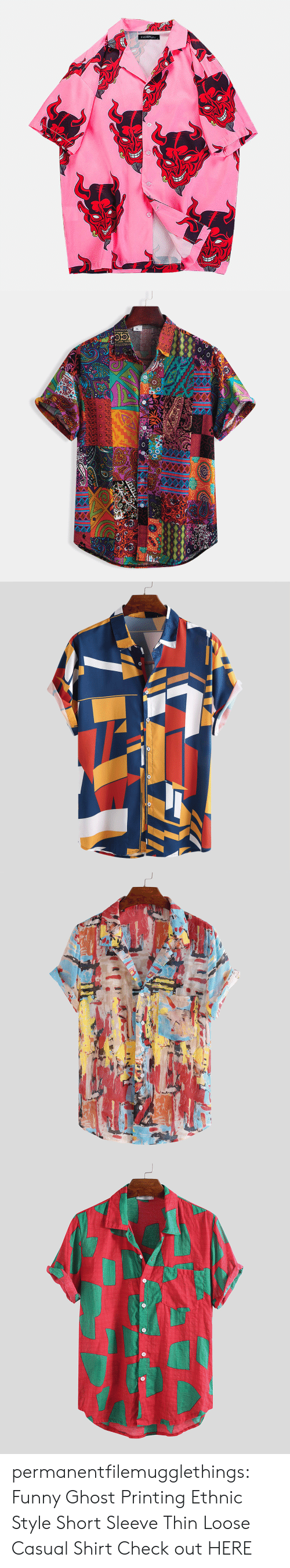 Printing: NCERUN   XL permanentfilemugglethings: Funny Ghost Printing Ethnic Style Short Sleeve Thin Loose Casual Shirt Check out HERE