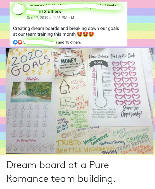breaking down: nd 3 others.  Mari.  Dec 17, 2019 at 9:01 PM  Creating dream boards and breaking down our goals  at our team training this month  e and 18 others  2020  GOALS  NTATION  Pure Porance Presidets Club  MONEY  COMES TO ME EASILY  GOAL  AND EFFORTLESSLY  つつぐ  $56875  Director  548 750  NEW  HOUSE  $40.625  aPhoa  Coola  532.500  $24.375  516250  $8.125  LFL PAY  OFF MY  $$$ $100,.000  Team  LOSE 70cco  Share The  Opportunty!  Become the kind of leader  that people would follow  voluntarly, even if you had no  ntle or position -Brian Tracy  $70,000  Personal  100lbs  Do ODE  3x week 000  OPTGTS  override  $10,000 months  Now Bayiness Parfecers  NI6TS D9  TRIBTO  WORLD  SEATTLE WASHING TON  COAST TRAINING  16  ConFREndE EAST  National Thaining CAMPING  Dana Barsh  woowoo  TEAM RETREAT  onilly  etreat  $65.000 fersandl Refal Saler Dream board at a Pure Romance team building.