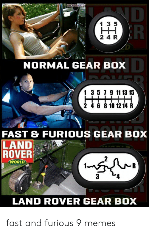 furious: ND  R  1 3 5  HH  2 4 R  NORMAL GEAR BOX  1 3 5 7 9 11 13 15  2 4 6 8 10 12 14 R  FAST & FURIOUS GEAR BOX  LAND  ROVER  WORLD  R  3  LAND ROVER GEAR BOX fast and furious 9 memes