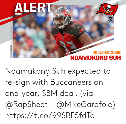 buccaneers: Ndamukong Suh expected to re-sign with Buccaneers on one-year, $8M deal. (via @RapSheet + @MikeGarafolo) https://t.co/99SBE5fdTc