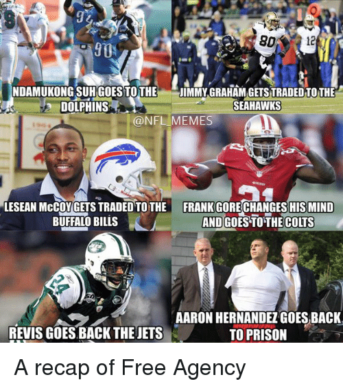revy: NDAMUKONGSUH GOES TOTHE  JIMMY GRAHAMGETS TRADED TO THE  SEAHAWKS  DOLPHINS  @NFL MEMES  LESEAN McCOUGETS TRADED TOTHE FRANK GORECHANGESHISMIND  AND GoESTOTHE Coms  BUFFALO BILLS  AARON HERNANDEZ GOES BACK.  REVIS GOES BACK THE JETS  TO PRISON A recap of Free Agency
