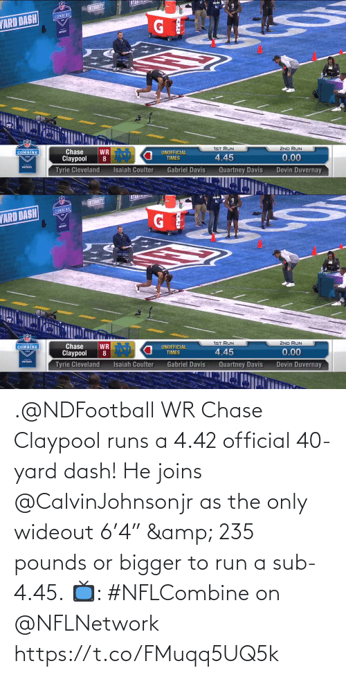 "dash: .@NDFootball WR Chase Claypool runs a 4.42 official 40-yard dash!  He joins @CalvinJohnsonjr as the only wideout 6'4"" & 235 pounds or bigger to run a sub-4.45.  📺: #NFLCombine on @NFLNetwork https://t.co/FMuqq5UQ5k"