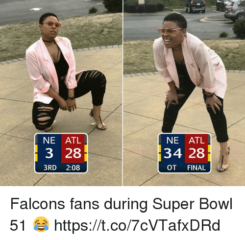 Football, Nfl, and Sports: NE ATL  3 28  3RD 2:08  NE ATL  34 28  OT FINAL Falcons fans during Super Bowl 51 😂 https://t.co/7cVTafxDRd