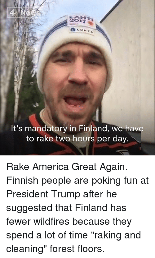 """America Great Again: Ne  It's mandatory in Finland, we have  to rake two hours per day Rake America Great Again.   Finnish people are poking fun at President Trump after he suggested that Finland has fewer wildfires because they spend a lot of time """"raking and cleaning"""" forest floors."""