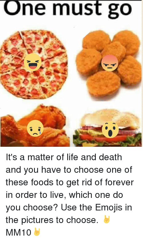 ne must go its a matter of life and death 6459155 ne must go it's a matter of life and death and you have to choose,One Has To Go Food Meme