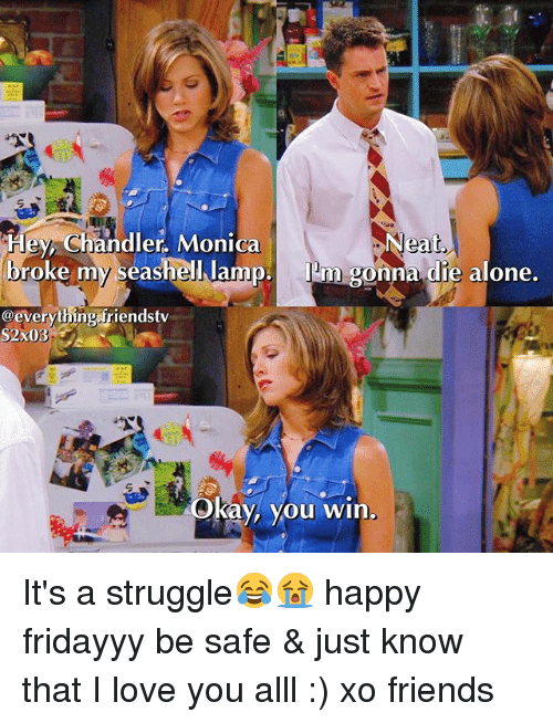 Kaye: Neat.  Hey, Chandler, Monica  broke my seashell lamp  Inm gonna die alone.  @everything iriendstv  S2X03  kay, you  win It's a struggle😂😭 happy fridayyy be safe & just know that I love you alll :) xo friends