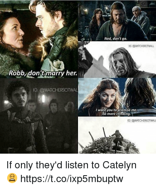Climbing, Memes, and 🤖: Ned, don't go.  Robbdonit marry her.  G @WATCHERSOTWAL  T wantyou to promise me  no more climbing, If only they'd listen to Catelyn 😩 https://t.co/ixp5mbuptw
