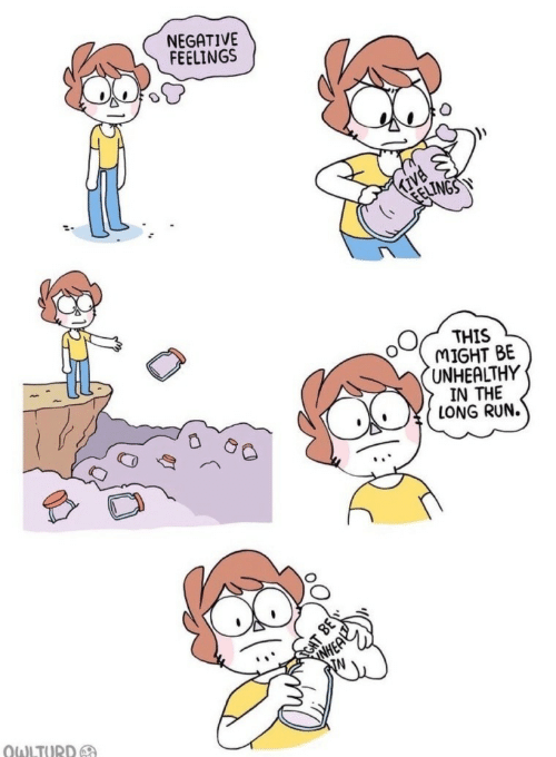 Run, This, and Might: NEGATIVE  FEELINGS  Kive  THIS  MIGHT BE  UNHEALTHY  IN THE  LONG RUN.  WHEA  N  CHT  OWLTURD