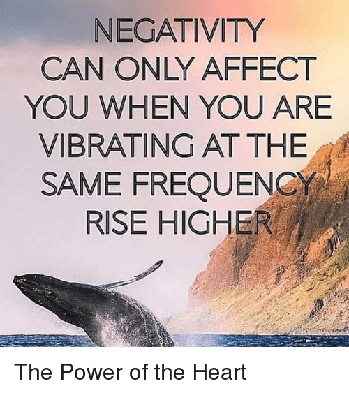 Memes, Affect, and Vibrator: NEGATIVITY  CAN ONLY AFFECT  YOU WHEN YOU ARE  VIBRATING AT THE  SAME FREQUENCY  RISE HIGHER The Power of the Heart