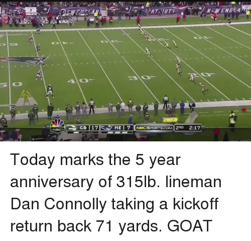 Memes, Goat, and 🤖: NEI 7 NBCSPORTSCOM 2ND 2:17  NEW ENEL A Today marks the 5 year anniversary of 315lb. lineman Dan Connolly taking a kickoff return back 71 yards. GOAT