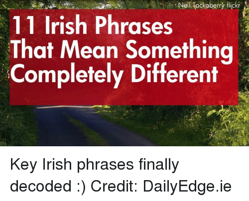 Irish, Memes, and Flickr: NeiHackaberry flickr  11 Irish Phrases  That Mean Something  Completely Different Key Irish phrases finally decoded :)  Credit: DailyEdge.ie