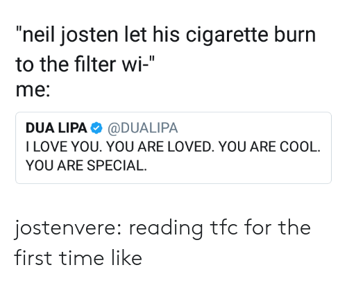 "you are special: ""neil josten let his cigarette burn  to the filter wi-""  me:  DUA LIPA@DUALIPA  ILOVE YOU. YOU ARE LOVED. YOU ARE COOL  YOU ARE SPECIAL jostenvere:  reading tfc for the first time like"