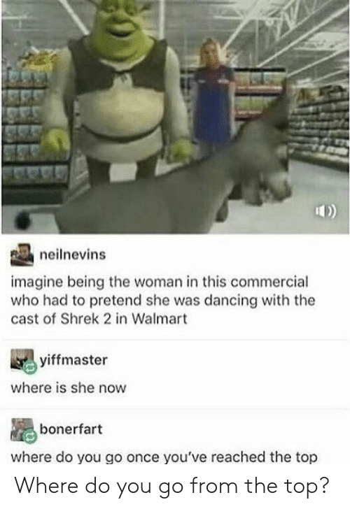 commercial: neilnevins  imagine being the woman in this commercial  who had to pretend she was dancing with the  cast of Shrek 2 in Walmart  yiffmaster  where is she now  bonerfart  where do you go once you've reached the top Where do you go from the top?