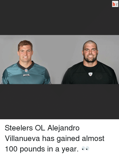 Steelers: NEL  EABLET Steelers OL Alejandro Villanueva has gained almost 100 pounds in a year. 👀