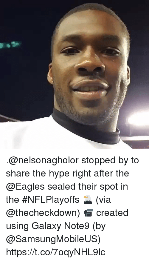sealed: .@nelsonagholor stopped by to share the hype right after the @Eagles sealed their spot in the #NFLPlayoffs 🦅 (via @thecheckdown)  📹 created using Galaxy Note9 (by @SamsungMobileUS) https://t.co/7oqyNHL9lc