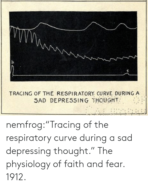 "thumb: nemfrog:""Tracing of the respiratory curve during a sad depressing thought."" The physiology of faith and fear. 1912."
