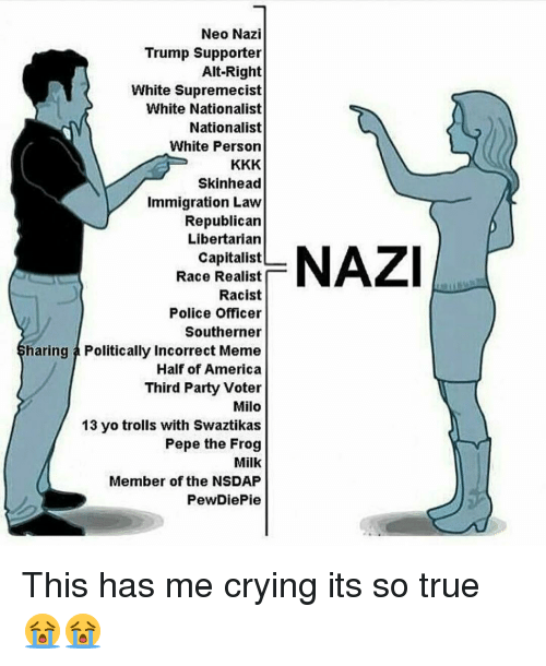 Neo Nazi: Neo Nazi  Trump Supporter  Alt-Right  White Supremecist  White Nationalist  Nationalist  White Person  Skinhead  Immigration Law  Republican  Libertarian  Capitalist  Race Realist  Racist  Police Officer  Southerner  haring a Politically Incorrect Meme  Half of America  Third Party Voter  Milo  13 yo trolls with Swaztikas  Pepe the Frog  Milk  Member of the NSDAP  PewDiePie  NAZI This has me crying its so true 😭😭