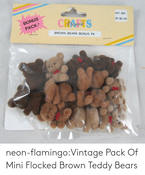 brown: neon-flamingo:Vintage Pack Of Mini Flocked Brown Teddy Bears