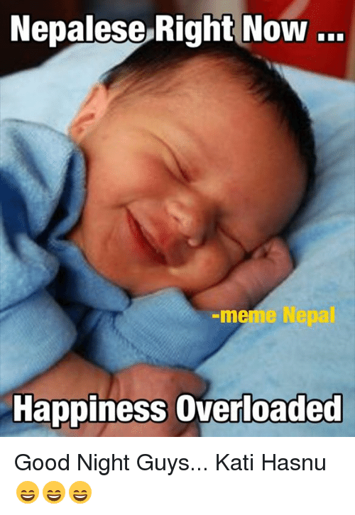 Meme, Memes, and Good: Nepalese Right Now  meme  Happiness overloaded Good Night Guys... Kati Hasnu 😄😄😄