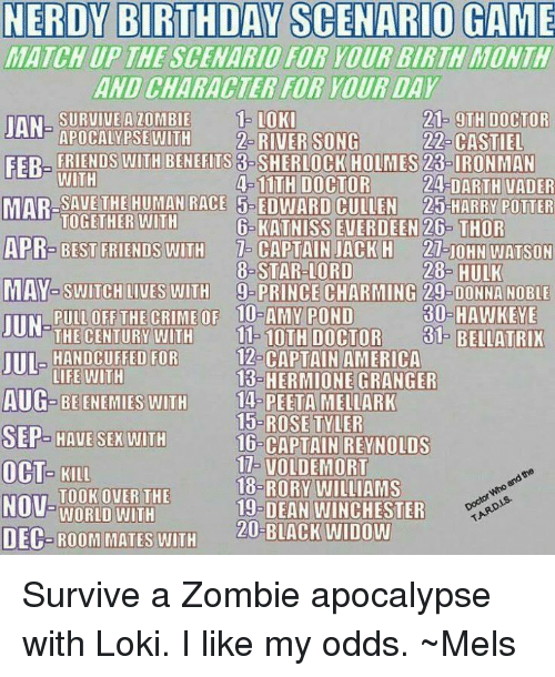 Tarding: NERDY BIRTHDAY SCENARIO GAME  MATCHUP THE SCENARIO FOR YOUR BIRTH MONTH  AND CHARACTER FOR YOUR DAY  SURVIVE A ZOMBIE OK  21- OTH DOCTOR  24-DARTH VADER  26- THOR  28- HULK  30-HAWKEYE  A  FER- FRIENDS WITH BENEFITS 3-SHERLOCK HOLMES 23-IRONMAN  APOCALYPSEWITH2-RIVER SONG  WITH  TOGETHER WITH  22 CASTIEL  MAR-SAUE THE HUMAN RACE 5- EDWARD CULLEN 25-HARRY POTTER  APR-BEST FRIENDS WITH 7- CAPTAIN JACK H 21-JOHN WATSON  MAY-SWITCH LIVES WITH -PRINCE CHARMING 29-DONNA NOBILE  4-11TH DOCTOR  6-KATNISS EVERDEEN  8-STAR-LORD  JUN  UL-HANDCUFFED FOR  AUG  THE CENTURY WITH  11-10THDOCTOR31- BELLATRIK  12- CAPTAIN AMERICA  13 HERMIONE GRANGER  LIFE WITH  BE ENEMIES WITH 14- PEETA  MELLARK  15-ROSE TYLER  16-CAPTAIN REYNOLDS  11- VOLDEMORT  18-RORY WILLIAMS  19-DEAN WINCHESTER  20-BLACK WIDOW  OCT- KILL  TOOK OVER THE  Doctor Who and the  DEC-ROOM MATES WITH ACK ID  TARD.LS. Survive a Zombie apocalypse with Loki. I like my odds. ~Mels