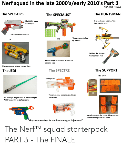 """The Hunger Games: Nerf squad in the late 2000's/early 2010's Part 3  AKA The FINALE  The SPEC-OPS  The SPECIALIST  The HUNTSMAN  Flashlight taped  It is no longer a game. You  become his prey.  to weapon  NITRON  NER  + Some melee weapon  OR  """"Can we stop to find  OR  my ammo""""  Genctor  NERE  ED  NER  Wishes the Hunger  Games were real  Either way the ammo is useless to  anyone else  Always missing behind enemy lines  The JEDI  The SPECTRE  The SUPPORT  The MVP  """"Going dark""""  NERP  NERF  LLL  NERF  N-STRIKE  AMMO BOX  100 EARIST  INCLUDES  STREAMLINE  STRIKE  The clear guns enhance stealth or  something  Kid brought a lightsaber to a blaster fight  Will try, and fail to deflect darts  NERP  NERF  MAVERICK RE  Spends most of the game filling up mags  and collecting darts for allies  """"Guys can we stop for a minute my gun is jammed"""" The Nerf™ squad starterpack PART 3 - The FINALE"""