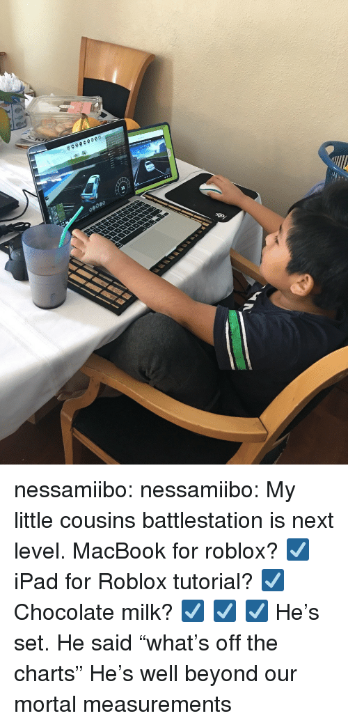 """Off The Charts: nessamiibo:  nessamiibo:   My little cousins battlestation is next level. MacBook for roblox? ☑️ iPad for Roblox tutorial? ☑️ Chocolate milk? ☑️ ☑️ ☑️  He's set.   He said """"what's off the charts"""" He's well beyond our mortal measurements"""