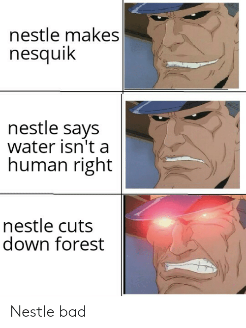 nestle: nestle makes  nesquik  nestle says  water isn't a  human right  nestle cuts  down forest Nestle bad