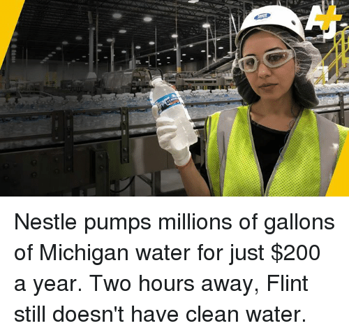 Bailey Jay, Memes, and Michigan: Nestle pumps millions of gallons of Michigan water for just $200 a year. Two hours away, Flint still doesn't have clean water.