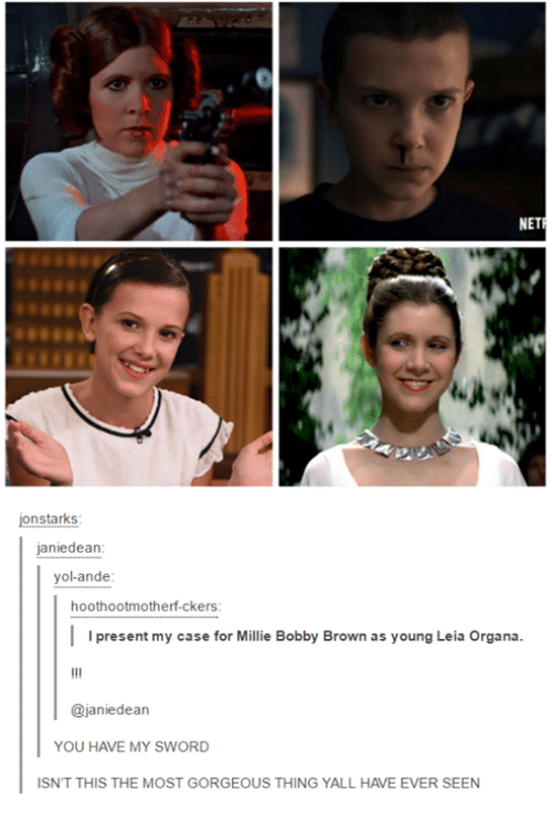 leia organa: NET  jon starks  janie dean  yolande  hoothootmotherf-ckers  I I present my case for Millie Bobby Brown as young Leia Organa  ajaniedean  YOU HAVE MY SWORD  ISNT THIS THE MOST GORGEOUS THING YALL HAVE EVER SEEN