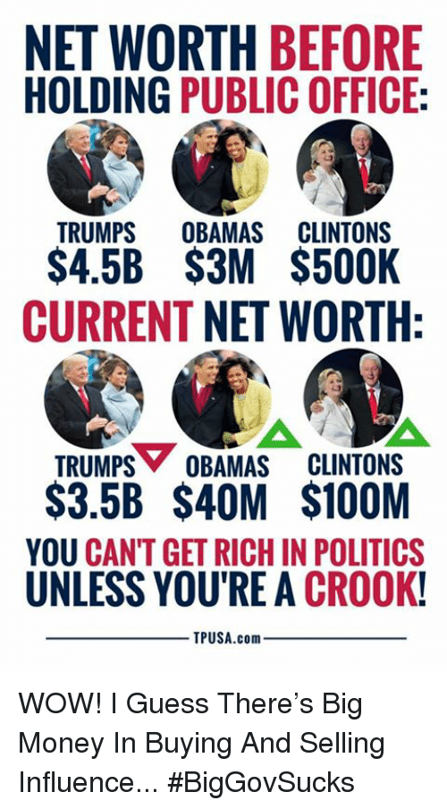 Memes, Money, and Politics: NET WORTH BEFORE  HOLDING PUBLIC OFFICE:  TRUMPS OUAMAS CLUNTONS  S4.5B $3M $500K  CURRENT NET WORTH  TRUMPS OBAMAS CLINTONS  $3.5B $4OM $100M  YOU CANT GET RICH IN POLITICS  UNLESS YOU'RE A CROOK!  TPUSA.com WOW! I Guess There's Big Money In Buying And Selling Influence... #BigGovSucks