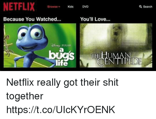 Life, Love, and Netflix: NETFLIX  Browse  Kids  DVD  Q Search  Because You Watched..  You'll Love  DPIXAR  UMAN  NTIPED  life Netflix really got their shit together https://t.co/UIcKYrOENK