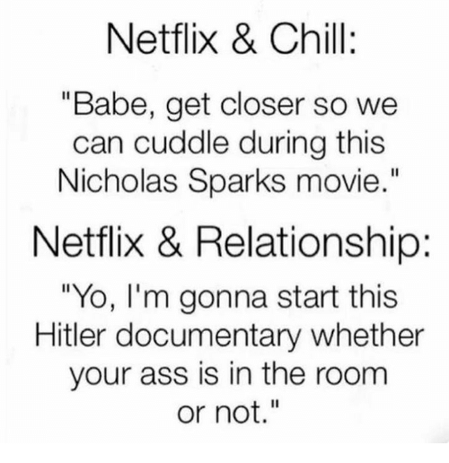 """Netflix Chill: Netflix & Chill:  """"Babe, get closer so we  can cuddle during this  Nicholas Sparks movie  Netflix & Relationship:  """"Yo, I'm gonna start this  Hitler documentary whether  your ass is in the room  or not."""""""
