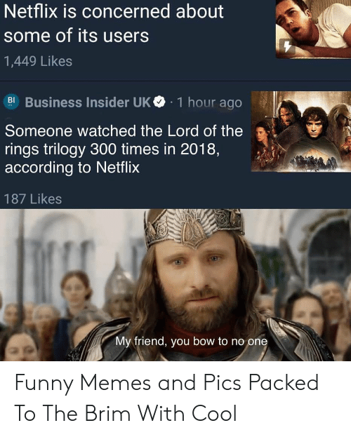 The Lord: Netflix is concerned about  some of its users  1,449 Likes  Business Insider UK  1 hour ago  BI  Someone watched the Lord of the  rings trilogy 300 times in 2018,  according to Netflix  187 Likes  My friend, you bow to no one Funny Memes and Pics Packed To The Brim With Cool